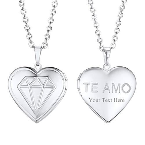 PROSTEEL TE AMO Engraved Name Necklace Italian I Love You Pendant Engraved Name Necklace Locket for Women