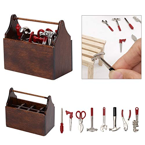 banapoy 1/12 Puppenhaus-Werkzeugkasten, ungiftiger Mini-Werkzeugkasten aus Holz, dekorativ für Puppenhaus-Ornament Puppenhaus-Zubehör mit Mini-Werkzeugen