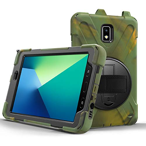 JZ 360 Degrees Kickstand Case Compatible with Samsung Galaxy Tab S3 9.7 (SM-T820,T825,T827) Stand Case Cover with Wrist Strap and Shoulder Strap - Camouflage