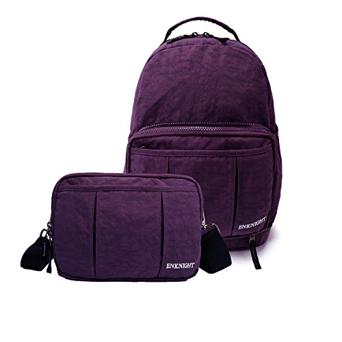 ENKNIGHT Nylon Casual Travel Daypack Foldable Backpack Purse Cross Body Bags Purple