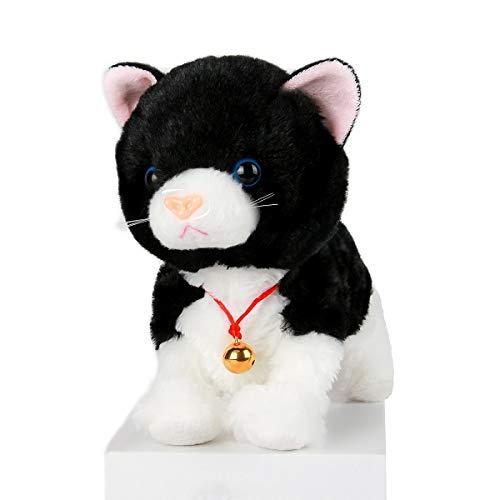 Smalody Giocattoli di Peluche, novità Controllo del Suono Gatto elettronico Giocattoli interattivi Animali Domestici elettronici Robot Gatto per Bambini Bambini (Nero)