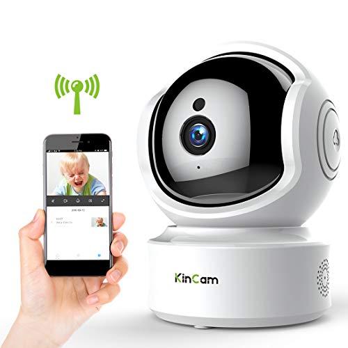 KinCam Cámara de Vigilancia Cámara de Seguridad Inalámbrica 1080P Cámara IP de Vigilancia Doméstica WiFi para Bebés/Personas Mayores/Mascotas/Niñeras Pan/Tilt Audio Bidireccional y Visión Nocturna