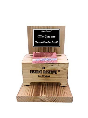 * Alles Gute zur Porzellanhochzeit - Eiserne Reserve ® Geldbox - Geldgeschenk Schatztruhe - Die lustige Geschenkidee - Geld verschenken