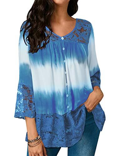 Style Dome Bluse Damen Casual Spitzen Lace Tunika Batik Loose V-Ausschnitt Halbarm Shirt Tops Hellblau-F49879 XXL