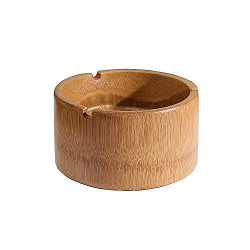 ZZYJYALG Cenicero de Madera Grande Capacidad a Prueba de Viento decoración de bambú de bambú Estudio de la Sala de Estar de Escritorio Cenicero de Almacenamiento Tenedor de Cigarrillo Balcón Barra de