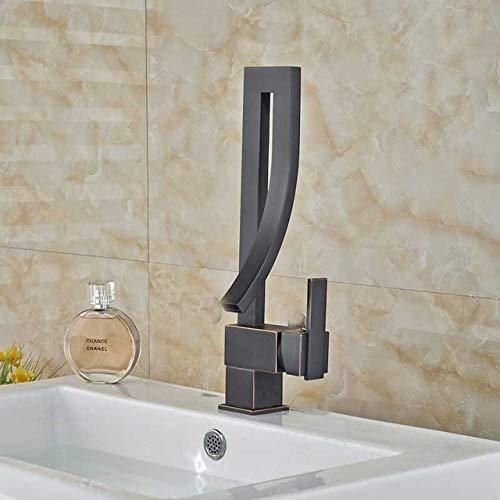 RSZHHL waterkraan helder chroom badkamer kraan messing platform brachte waterval mengkraan enkele handgreep hete koud water mengkraan Black Bronze Faucet