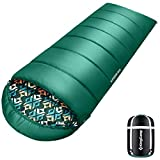 KingCamp Sleeping Bag for Adults & Youth, Soft and Warm Printing Sleeping Bag, Comfortable and Lightweight for Outdoor Camping Hiking Traveling - Green