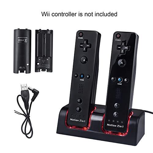 2 Port Chargeur pour Manette Wii avec 2 Batteries Rechargeables,TechKen Wiimote Chargeur Wii Support de Charger Wii Station de Charge Wii avec Quatre Wii Piles Recharge 2800mAh pour Télécommande Wii