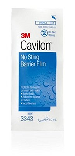 3m Cavilon No-Sting Barrier Film, Gentler Way to Protect Skin from Body Fluids, Adhesives, and Friction, Alcohol Free Barrier Film, Hypoallergenic and Latex Free, Swabs, Box of 25