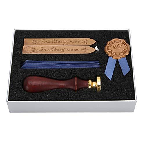 Juego de cera de sellado, juego de regalo de sello de cera de sellado retro con sello de sellado de mang-o de madera, cintas y varilla de cera de sellado, para sobres de tarjetas