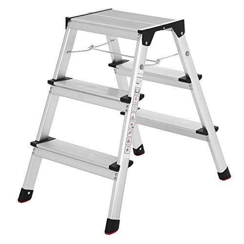 SONGMICS Aluminum-Leiter, Mehrzweckleiter, bis 150 kg belastbar, mit 3 Stufen, vom TÜV Rheinland nach DINEN14183 geprüft GLT23K