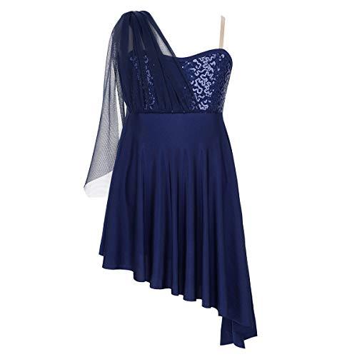 IEFIEL Vestido Lentejuelas de Patinaje Artistico Niña Maillot con Falda Irregular de Danza Ballet Vestido Elegante de Danza Lirica Disfraz Bailarina Azul Navy 10 años