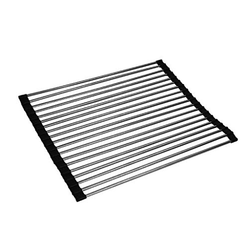 JYHYGS Roll Up Dish Drying Rack Over The Sink Kitchen Roll Up Sink Drying Rack Portable Dish Rack Dish Drainer Foldable Stainless Steel Dish Drying Rack