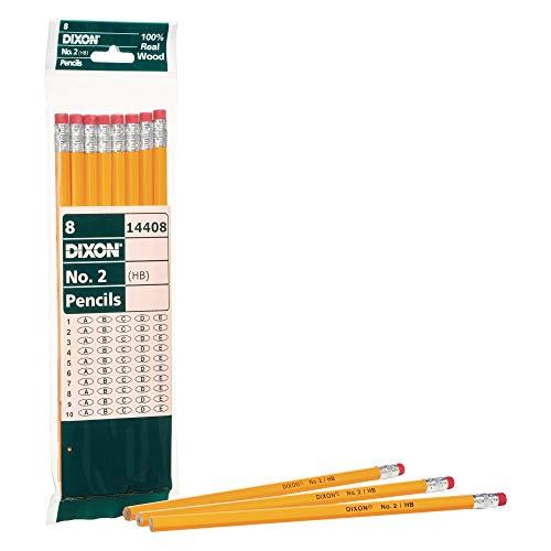 Dixon No. 2 Yellow Pencils, Wood-Cased, Black Core, #2 HB Soft, 8-Count (14408)