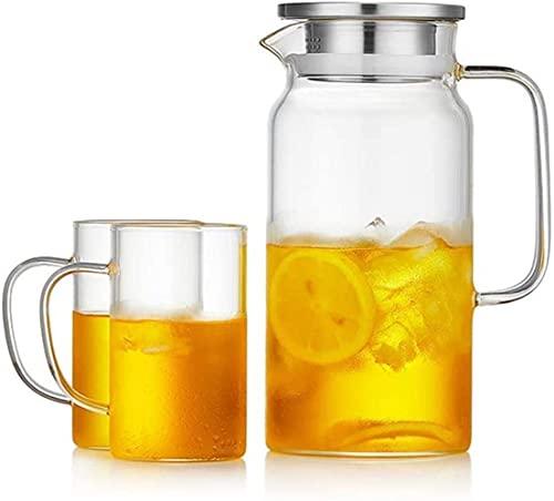Wohnzimmerzubehör Teekannen Tasse Hausfrau Wasserkocher Kaltes Glas Hochtemperatur Sommer Wasserkocher Kalte Tasse Große Kapazität Transparente Wasserflasche Set Hitzebeständig (Größe: Topf 1580ml