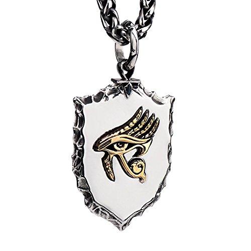 FORFOX Collier Pendentif amulette Oeil dhorus dor en Acier T