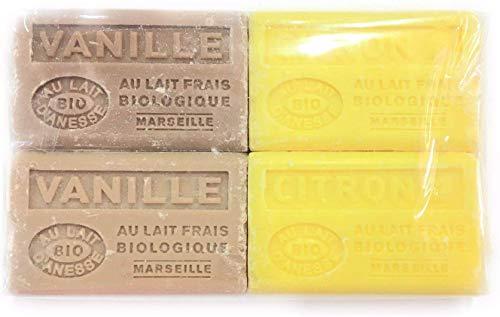 Label Provence – Lote de 4 jabones perfumados con aroma a vainilla,...