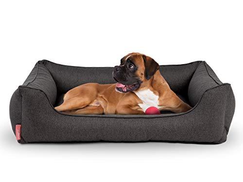 Hyggins Dreamer Plus Hundebett | Orthopädisch, Bezug abnehmbar und waschbar | Boden wasserabweisend (XL 117 x 80cm, Dunkelgrau)