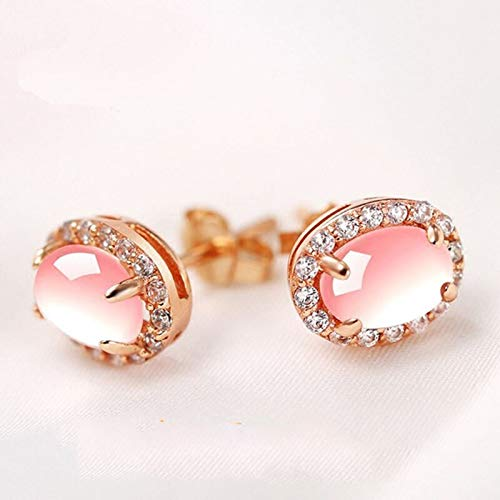 Fashion Silver 925 Natural Rose Quartz Earrings For Women Oval Pink Crystal Ear Stud Wedding Jewelry
