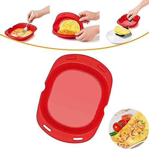 Silicone Omelette Maker, Microwave Oven Non Stick Omelette Maker, Anlstart Foldable Egg Roll Baking Pan Omelette Tool