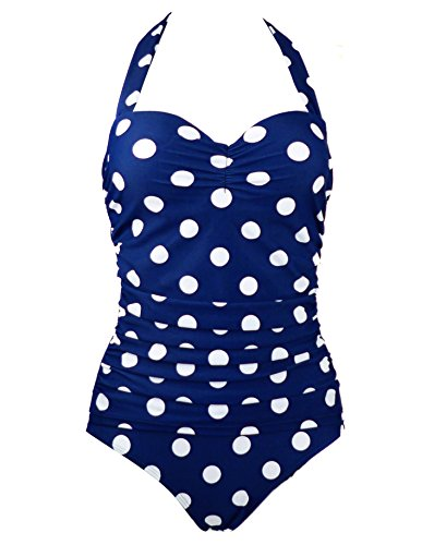 1950s Retro Vintage One Piece Monokini Navy Blue with White Polka Swimsuits Swimwear 2XL(FBA)