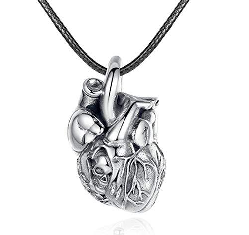 ANAZOZ 925 Sterling Silber Herren Retro Teufel Herz Halskette Kette Jesus Kreuz Kette mit Anhänger Halsketten Herren Tauben Anhänger Halskette Männer Silber Punk Schmuck für Männer