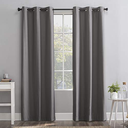 "Sun Zero Cyrus Thermal 100% Blackout Grommet Curtain Panel, 40"" x 96"", Gray"