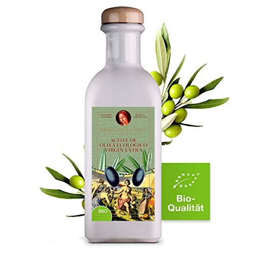 Maria de la Vara 2x BIO Olivenöl Virgin Extra – erste Güteklasse 0,5L I Natives Olivenöl Extra Vergine I Kaltgepresstes Olivenöl zum Braten & für mediterrane Küche I Aceite de Oliva – Made in Spain