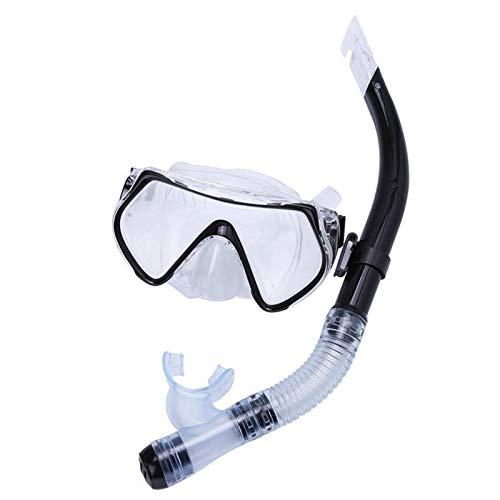MHSHKS Máscaras De Buceo Máscara De Snorkel Profesional Juego De Gafas Snorkel Antivaho Tubo De Respiración Medio Seco Gafas De Natación Herramienta para Piscina para para Adultos (Color : Black)