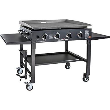 Blackstone 1554 Station-4-burner-Propane Fueled-Restaurant Grade-Professional 36 inch Outdoor Flat Top Gas Grill Griddle Station-4-bur, 36  - 4 Burner