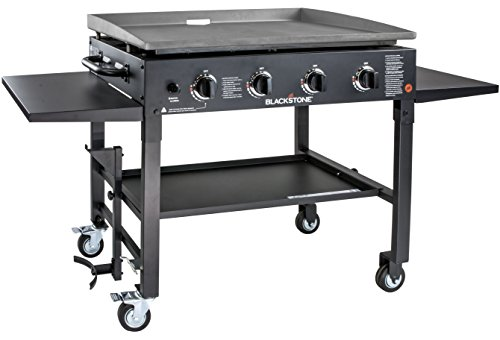 "Blackstone 1554 Cooking 4 Burner Flat Top Gas Grill Propane Fuelled Restaurant Grade Professional 36"" Outdoor Griddle Station with Side Shelf, Black"