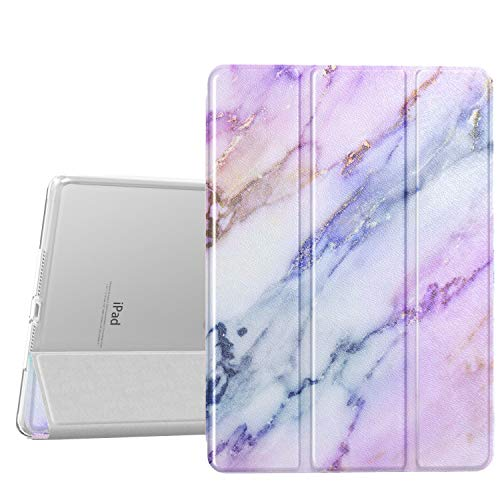 Dadanism iPad 9.7 2018 Case 6th Generation/iPad 9.7 2017 Case 5th Generation, [Flexible TPU Translucent Soft Back] Ultra Slim Lightweight Trifold Stand Smart Cover with Auto Sleep/Wake, Purple Marble