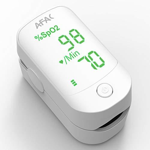 Pulsoximeter AFAC Sauerstoffsättigung Messgerät Finger, Oxymeter Fingerpulsoxymeter, Messung der SpO2 Blutsauerstoffsättigung und Herzfrequenz, One Button Bedienung, Groß Monitor mit Lanyard