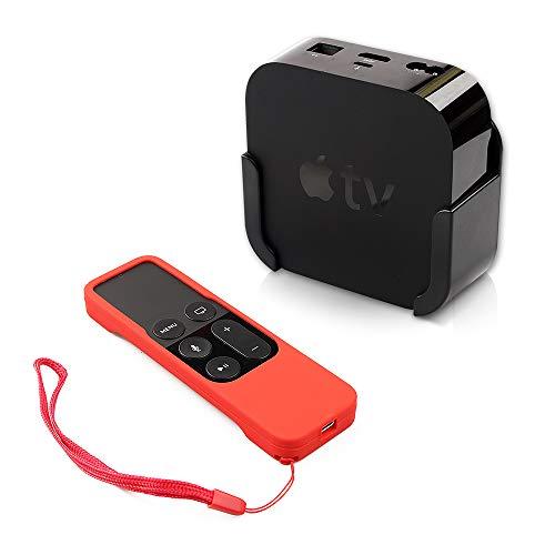homEdge Soporte para Apple TV, Soporte de Soporte de Montaje en Pared Compatible con Apple TV 4 y 4K con Funda Protectora de Silicona con Control Remoto Siri Rojo