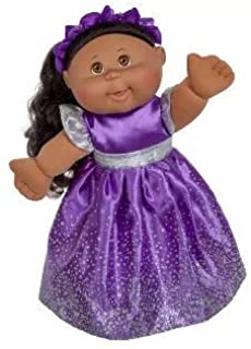 Cabbage Patch Doll - 2018 Holiday Edition (Ethnic) - Black Hair Brown Eyes, Purple Dress, 14