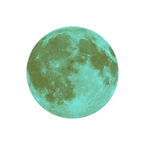 Indexp - Adesivo da Parete 3D Fluorescente a Forma di Luna Grande, 30 cm, Rimovibile, Si Illumina al Buio, Decorazione per Soggiorno, Camera da Letto, Cucina F
