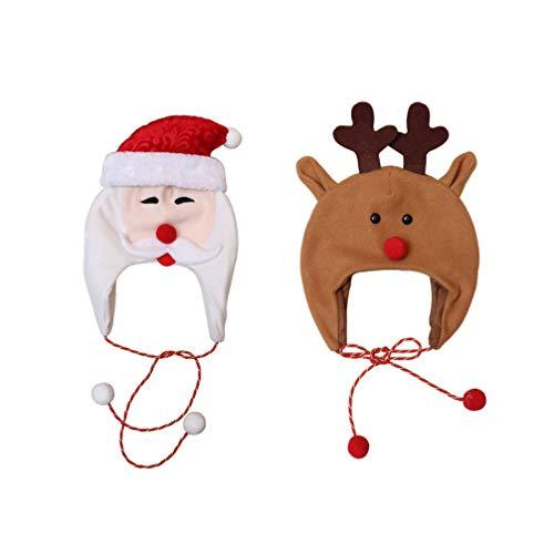 STOBOK - Sombreros de Navidad para nios, 2 Unidades, para Invierno, con Cuerda Larga, para beb, nias y nios, Gorro de Pap Noel y mueco de Nieve, Nios, Color Imagen 2, tamao Talla nica
