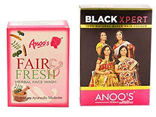 Anoos Fair & Fresh Herbal Face Wash 50g & Anoos Black Xpert black henna 100g combo