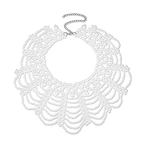 Collar de Perlas, Collares Falsos de Perlas Collar de Perlas de Imitación, para Mujeres Niñas Fiesta Boda Disfraces de Halloween Blusa Collar Falso Collares De Perlas