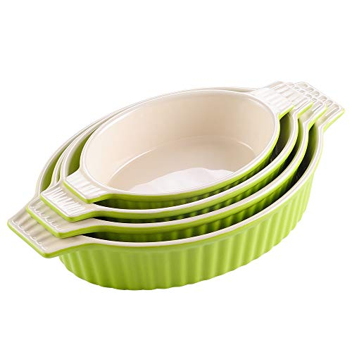 MALACASA, Serie Bake.Bake, 4 teilig Set Porzellan Backform Kuchenform Brotbackform Teller Suppenteller Tafelservice Back Schäle Auflaufform Ofenform Grün