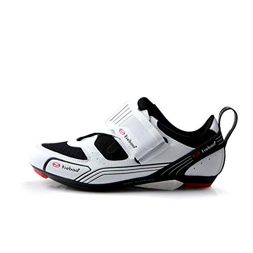 BETOOSEN Triathlon Road Cycling Shoes - 2 and 3 Bolt SPD Cleat Compatible Professional Self-Locking Mens MTB Spin Bike Shoes (White, 8 M US Men) New Mexico