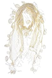 S3129 Offwhite Leafy Lace Scarf With Tassels