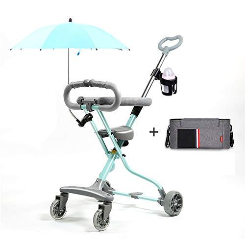 Triciclos- Bicicleta Plegable para Niños, Rueda De Trike Ligera para Bebés con Sombrilla Y Bolsa para Momias, 1-6 Años (Color : Azul)
