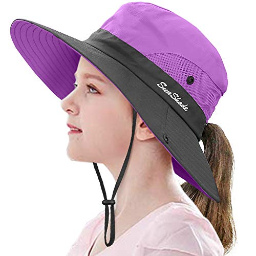 "LCZTN Kids Ponytail Sun Hat Wide Brim UV Protection for Girls Beach Bucket Cap (M:20.5""-21.7"" Head circumferences, Suggest to 5-12T, Purple)"