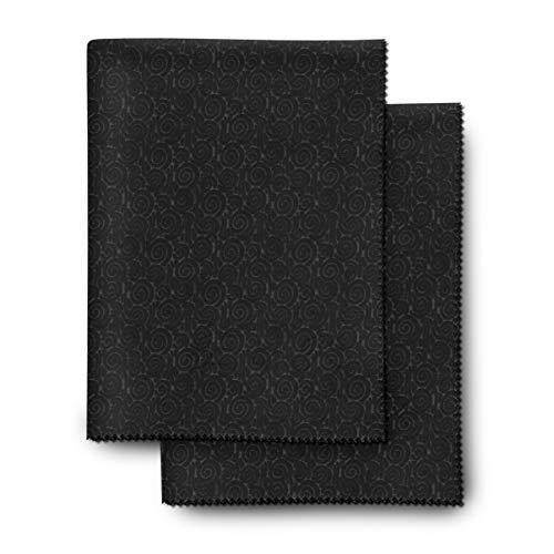 Paños para limpieza de gafas extragrandes, antideslizantes - para un mejor manejo - paquete de 2 paños de microfibra extrasuaves - 30 × 40 cm - lavable (negro)