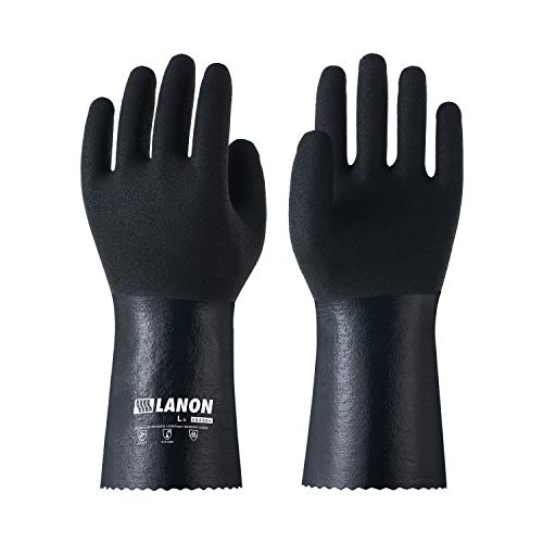 LANON Nitrile Chemical Resistant Gloves, Reusable Heavy Duty Safety Work Gloves with MicroFoam Textured Palm, Acid, Alkali and Oil Protection, Large