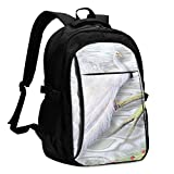 IUBBKI Borsa porta computer USB zaino Peacock White Office & School Supplies with USB Data Cable and Music Jack Laptop Bags Computer Notebook 18.1X13.3 inch