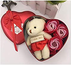 Lilone Decorative Heart Shape Box with Cute Teddy Bear and Soap Roses | Valentine Gifts for Girlfriend Wife