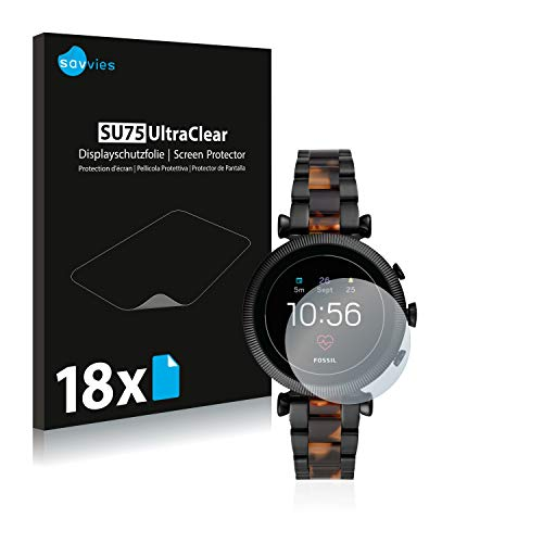 Savvies 18x Schutzfolie kompatibel mit Fossil Sloan HR (4.Gen) Bildschirmschutz-Folie Ultra-transparent