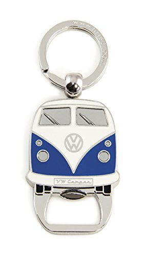 Brisa VW Collection - Volkswagen Hippie Bus T1 Camper Van Anello Portachiavi Retro con Apri-Bottiglie, Decorazione Vintage per Mazzo di Chiavi/Zaini/Borse Come Souvenir/Idea Regalo (Blu/Bianco)